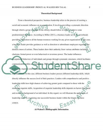 Leadership Paper essay example