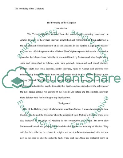 The Founding of the Caliphate Essay Example | Topics and