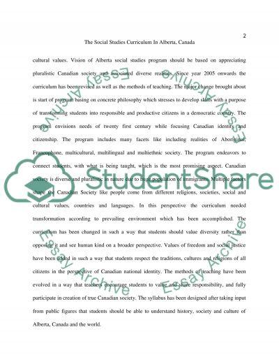The Social Studies Curriculum in Alberta, Canada essay example