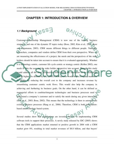 PostImplementation Evaluation of the Effectiveness of the CRM Systems Softwares essay example