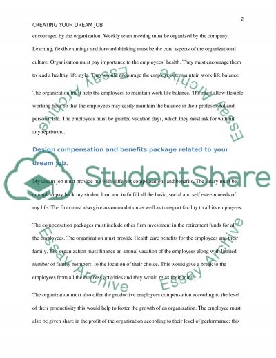 dream job specification essay example topics and well written  dream job specification essay example