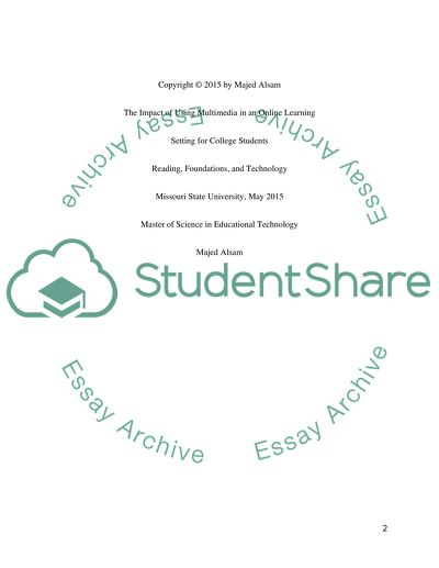 The Impact of Using Multimedia for College Students