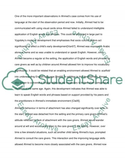 A Child Study essay example