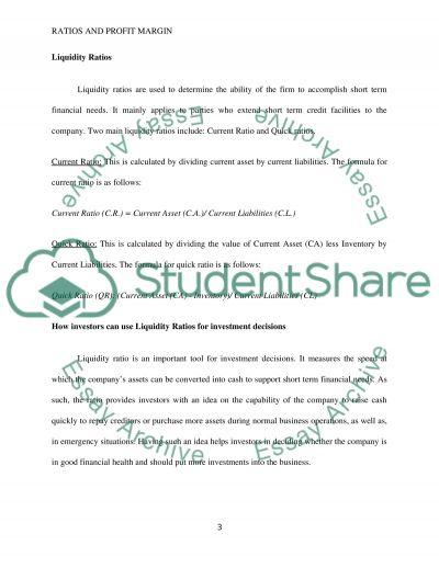 Ratios/Profit Margin essay example