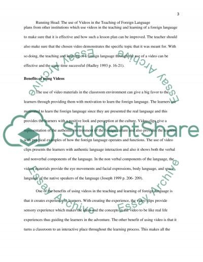 The use of videos in FL teaching and learning essay example