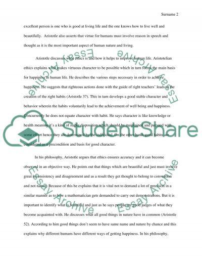 Aristotles Nicomachean Ethics Paper Assignment essay example