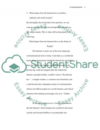 Introduction to Communication: The Internet essay example