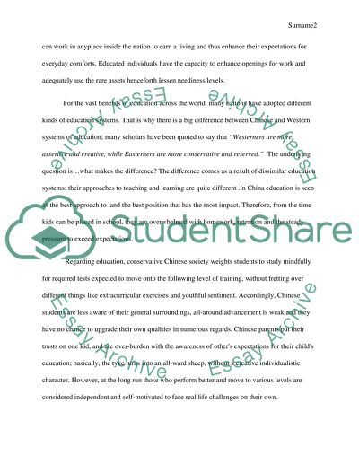 Information essay ---education related( preferred differences between chinese and western education