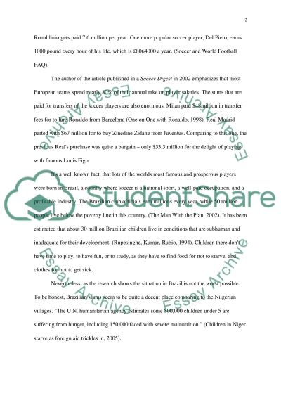 Soccer or Hunger essay example