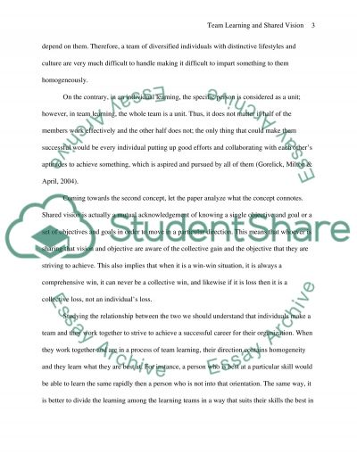 Explain the relationship betweenTeam Learning and Shared Vision essay example
