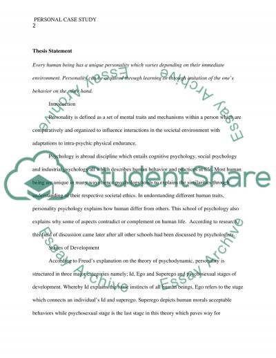 Personal case study essay example