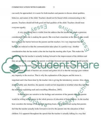 Communication with Families essay example
