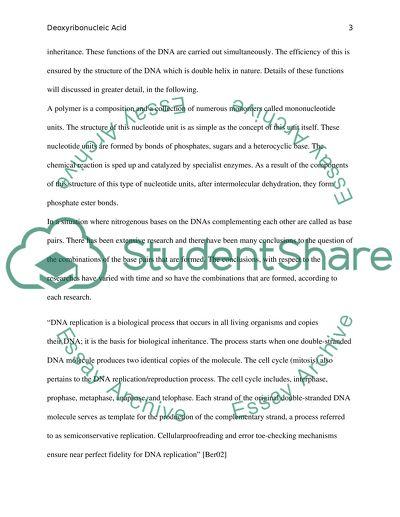 Dna structure essay