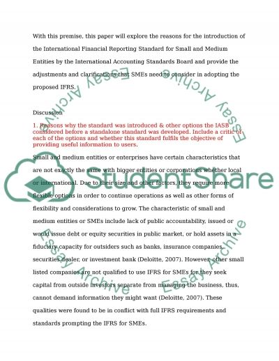 The IFRS for SMEs essay example