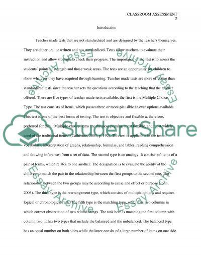 Classroom Assessment Paper essay example