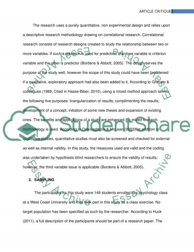 Article critique Essay example