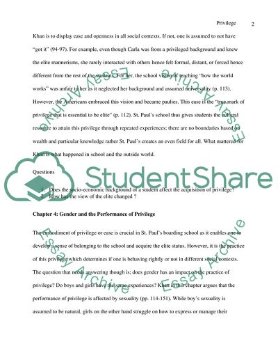 Book chapter 3 and 4 writing summary - Privilege: The Making of an Adolescent Elite at St. Pauls School