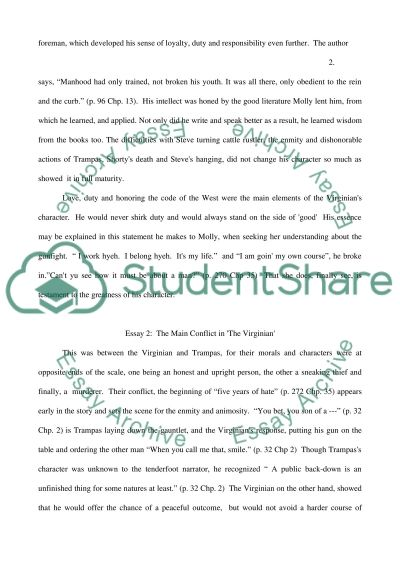 Essay The Virginian by Owen Wister essay example