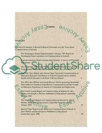 Commercialism in schools essay example