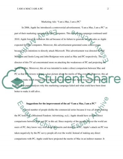 Marketing Ads: I Am a Mac, I Am a PC essay example