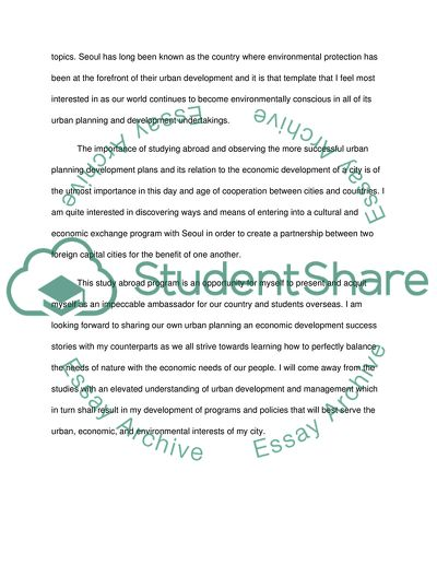 Study abroad essays examples