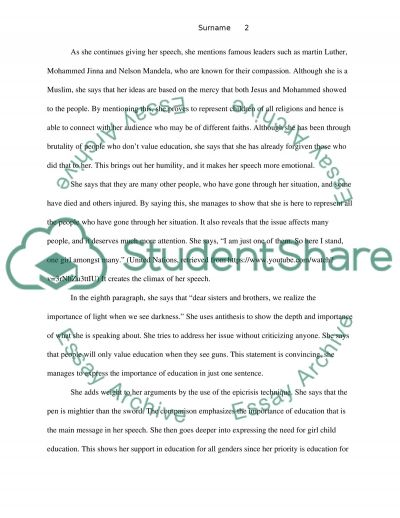 rhetorical analysis of malala yousafzai s speech to the un essay rhetorical analysis of malala yousafzais speech to the un essay example
