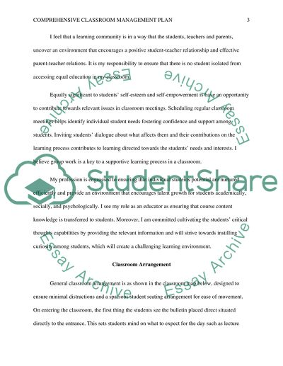 Comprehensive classroom management plan Essay Example