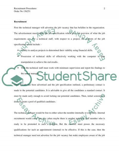 Recruitment procedures essay example