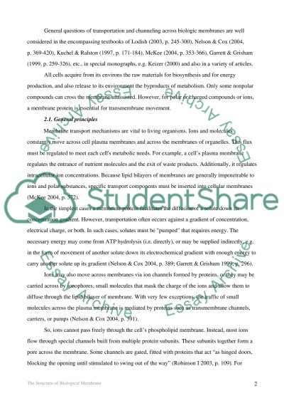 The Structure of Biological Membrane essay example