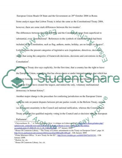 European Treaties essay example