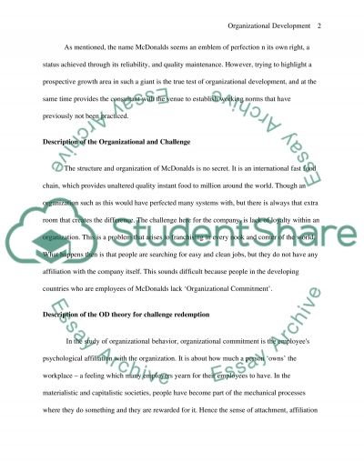 Organizational Development: Frame Work And Change Essay example