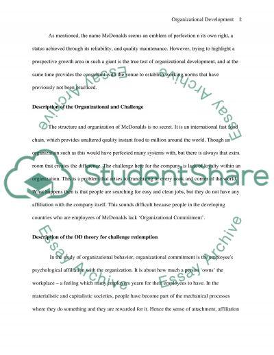 Organizational Development: Frame Work And Change essay example