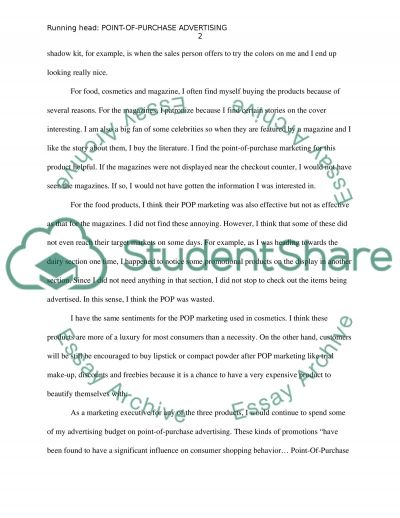 Point-Of-Purchase Advertising essay example