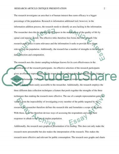 Research Article Presentation essay example