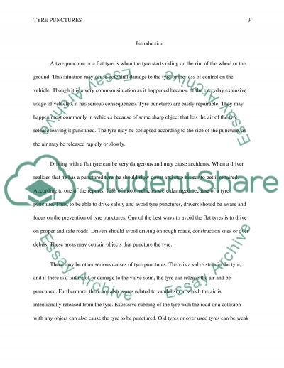 Tyre punctures essay example