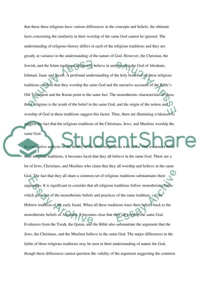 Three Religious Traditions essay example