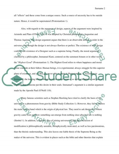 The Existence of the Supreme Being essay example