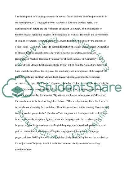 Change and Development in the English Language High School Essay essay example