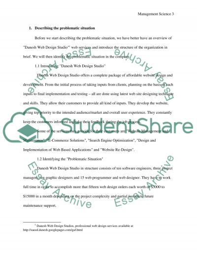 Problematic situation in a Web Design Studio essay example