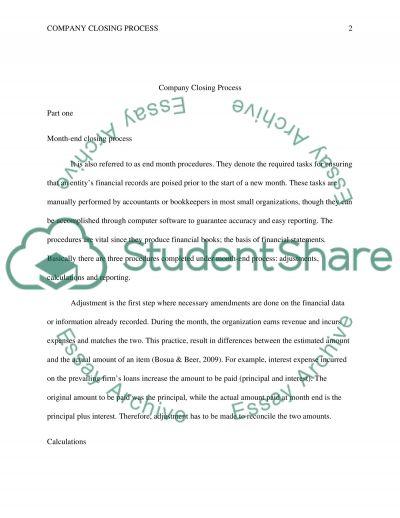 Company Closing Process essay example