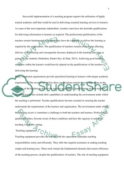 Integrating Quality Assurance Principles in the teaching-learning environment essay example