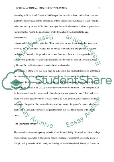 Critical Appraisal on SS Obesity Meanings essay example