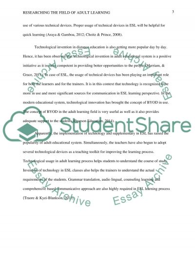 Researching the Field of Adult Learning essay example
