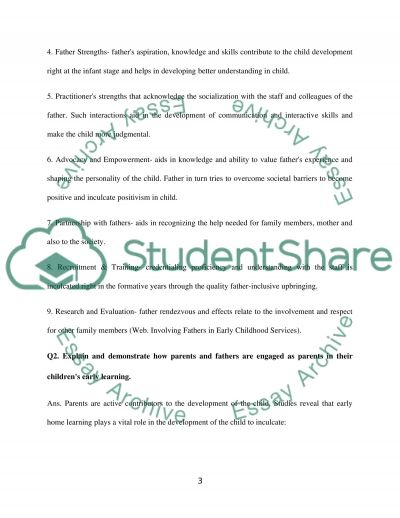 Engaging parents and fathers in their childrens early learning essay example