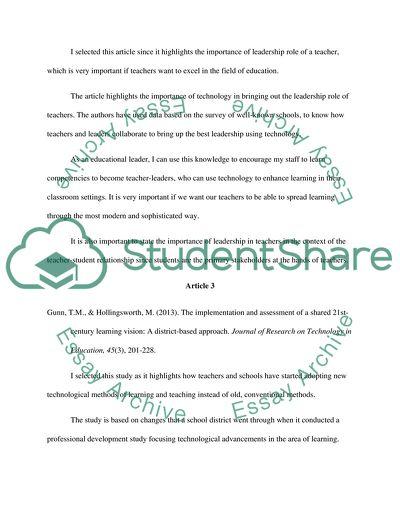 A Short Analysis Of Articles About Teachers