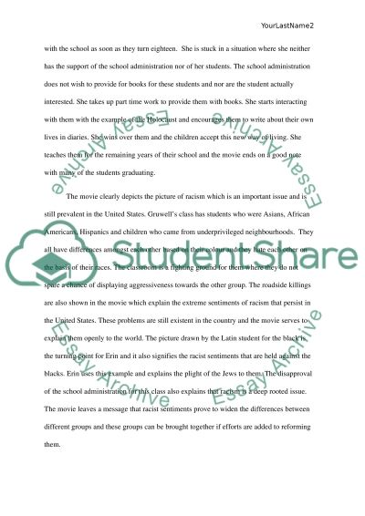 Freedom Writers essay example