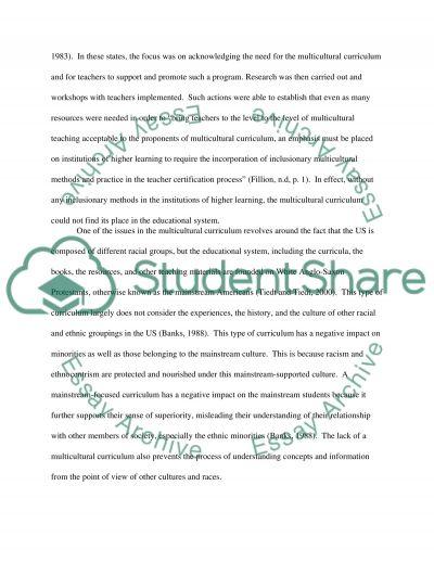Multiculturalism Issues in Curriculum essay example