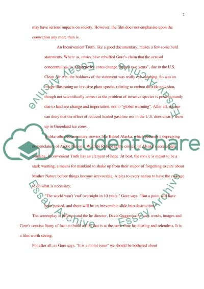Movie Review Essay An Inconvient Truth (with Al Gore) essay example