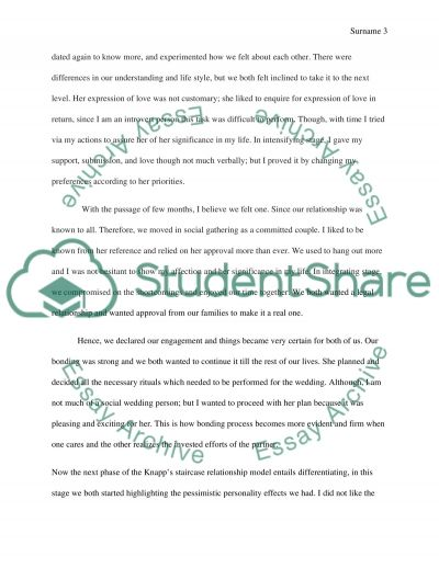 Relationship Essay example
