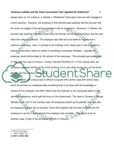 vicarious liability and the close connection test essay vicarious liability and the close connection test essay example